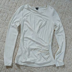 ANN TAYLOR Cream, Long-Sleeved Ruched Top
